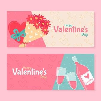 Gezeichnete schöne valentinstag banner gezeichnet