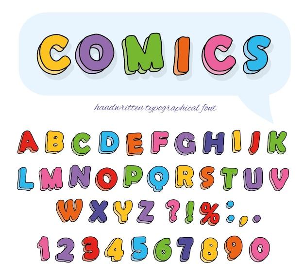 Gezeichnete schriftart der comics hand.