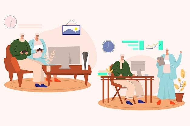 Gezeichnete senioren mit technologie