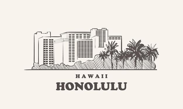 Gezeichnete skizze der skyline von honolulu, hawaii