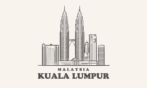 Gezeichnete skizze der skyline von kuala lumpur in malaysia