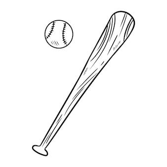 Gezeichnete skizze des baseball- und baseballschlägergekritzels hand