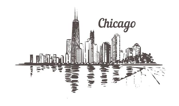 Gezeichnete skizze von waterfront chicago.