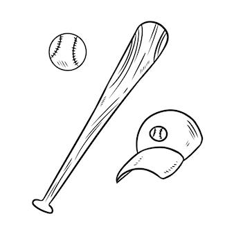 Gezeichnete skizzengekritzel des baseballballs, der kappe und des schlägers hand