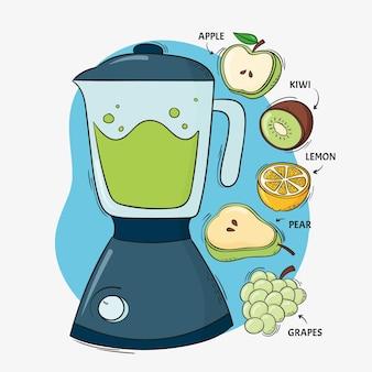 Gezeichnete smoothies im mixerglas