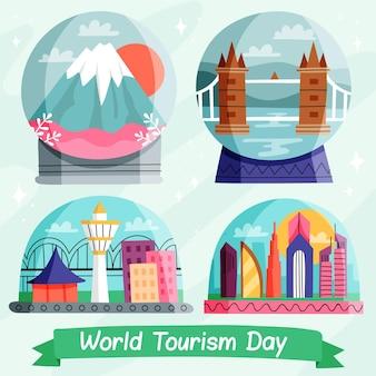 Gezeichnete tourismus-tagesillustration
