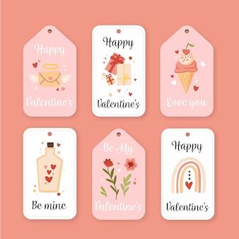 Gezeichnete valentinstag abzeichen gesetzt