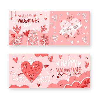 Gezeichnete valentinstag banner packung
