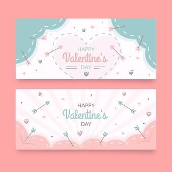 Gezeichnete valentinstag banner sammlung