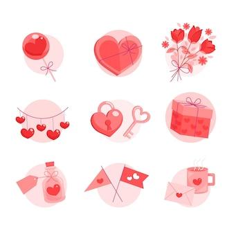 Gezeichnete valentinstag elemente