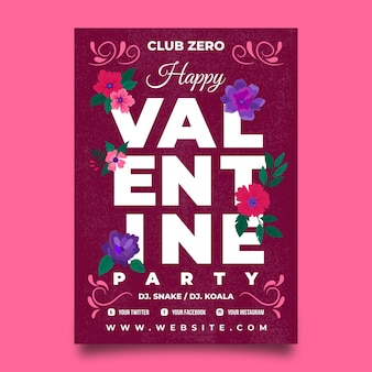 Gezeichnete valentinstag party flyer vorlage