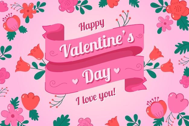 Gezeichnete valentinstag tapete