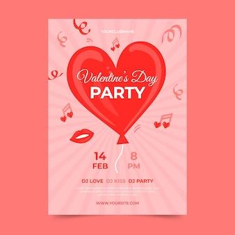 Gezeichnete valentinstagspartyplakatschablone