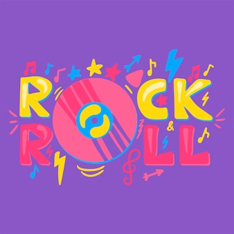 Gezeichnete vektor-beschriftung des rock-n roll hand