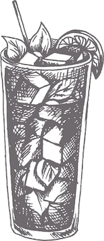 Gezeichnete vektorillustration des mojito-cocktails hand im skizzenstil