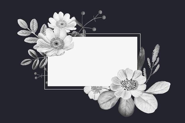 Gezeichnete vintage illustration des botanischen rahmens hand