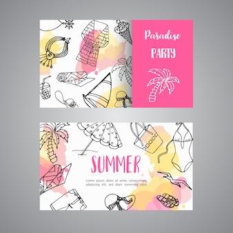 Gezeichnete visitenkarte des sommers hand strand-gekritzelelemente