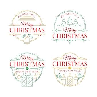 Gezeichnete weihnachtsabzeichen gesetzt
