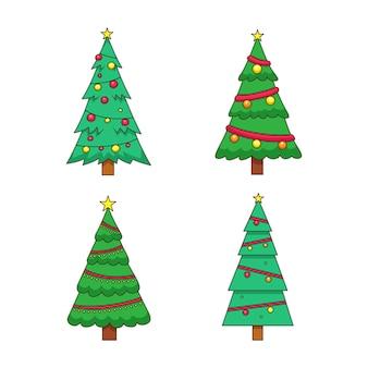 Gezeichnete weihnachtsbäume mit ornamenten gesetzt
