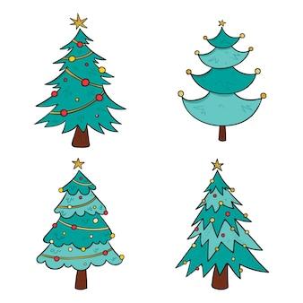 Gezeichnete weihnachtsbäume mit ornamenten