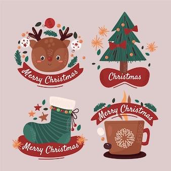 Gezeichnete weihnachtsetiketten gesetzt