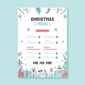 Gezeichnete weihnachtsmenüschablone mit verschiedenen elementen