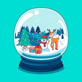 Gezeichnete weihnachtsschneeballkugel mit schneemann und rentier