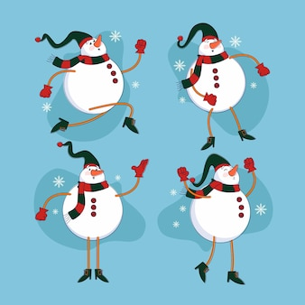 Gezeichnete weihnachtsschneemann-zeichensammlung