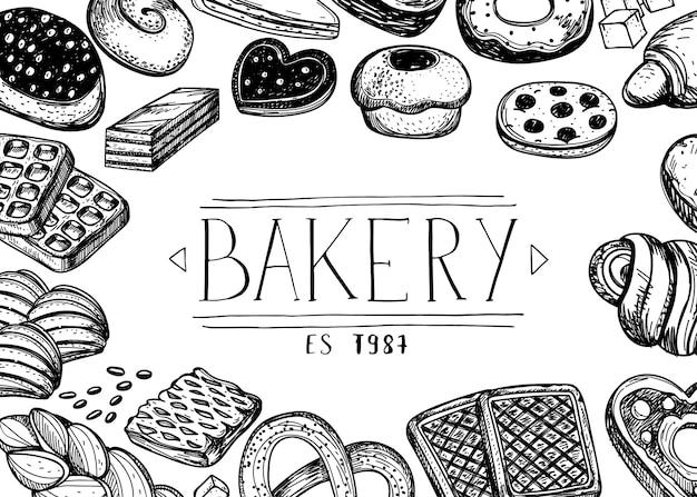 Gezeichnete weinlese des bäckereishop hand