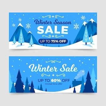 Gezeichnete winter sale banner sammlung