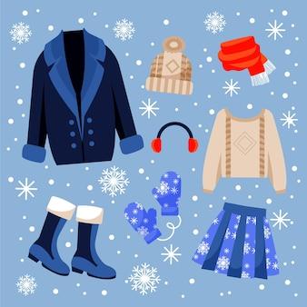 Gezeichnete winterkleidungssammlung