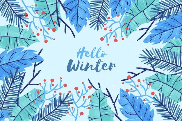 Gezeichnete wintertapete mit hallo winternachricht