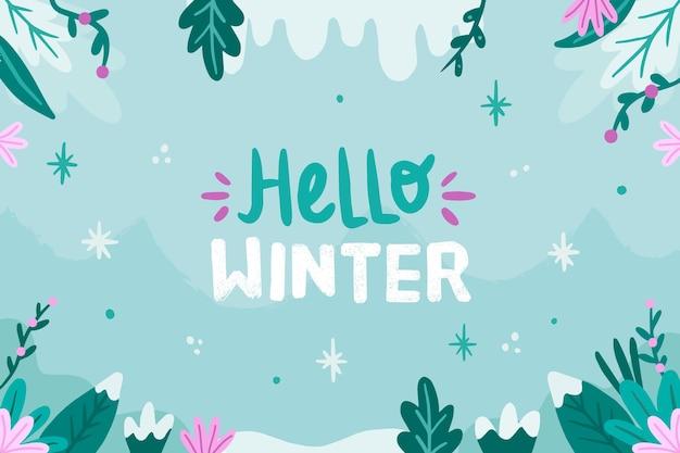 Gezeichnete wintertapete mit hallo wintertext