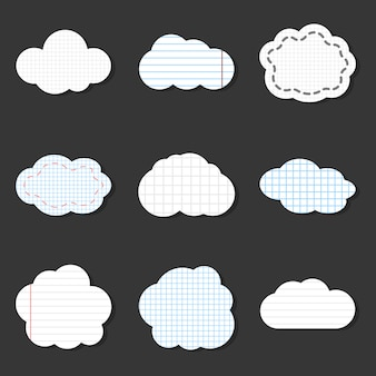 Gezeichnete wolkenvektorikonen. schule aufkleber notebook-stil