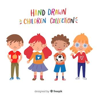 Gezeichnete zeichensammlung des kinder tages hand