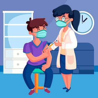 Gezeichneter arzt, der einem patienten impfstoff injiziert