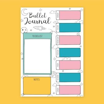 Gezeichneter bullet journal planer