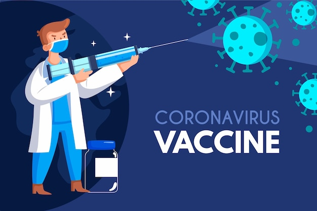 Gezeichneter coronavirus-impfstoffhintergrund
