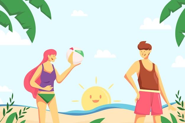 Gezeichneter entwurf des sommerhintergrunds
