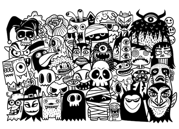 Gezeichneter gekritzelkarikatursatz des vektors hand gegenstände und symbole auf dem halloween-thema
