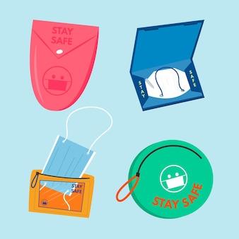 Gezeichneter gesichtsmasken-aufbewahrungskoffer gesetzt