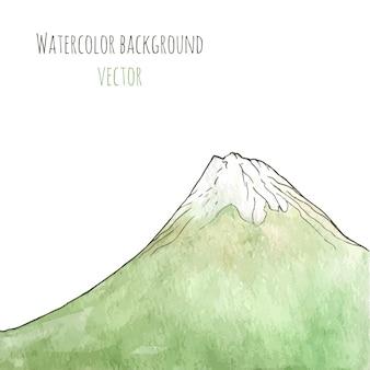 Gezeichneter grüner berg des aquarells hand. lokalisierte vektorillustration.