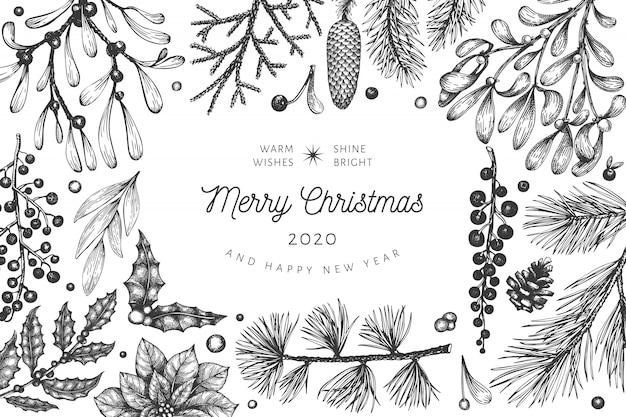 Gezeichneter gruß der weihnachtsverzierungen hand