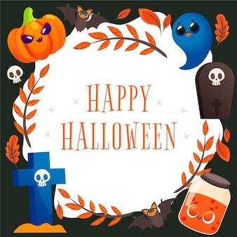 Gezeichneter halloween-rahmen mit nachricht