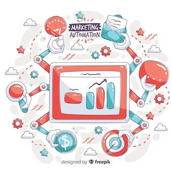 Gezeichneter hintergrund der marketing-automatisierung hand