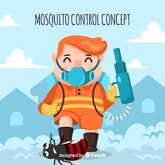 Gezeichneter hintergrund der moskitosteuerung hand