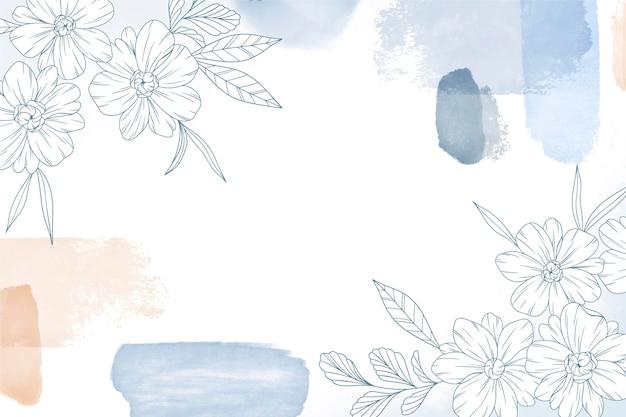 Gezeichneter hintergrund des blumenaquarells hand