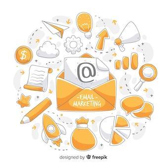 Gezeichneter hintergrund des e-mail-marketings hand