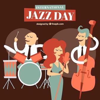 Gezeichneter hintergrund des internationalen jazztages hand