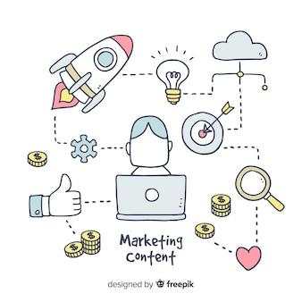 Gezeichneter hintergrund des marketing-inhalts hand
